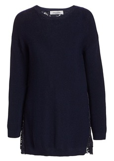 Valentino Pleated Lace-Back Wool Sweater