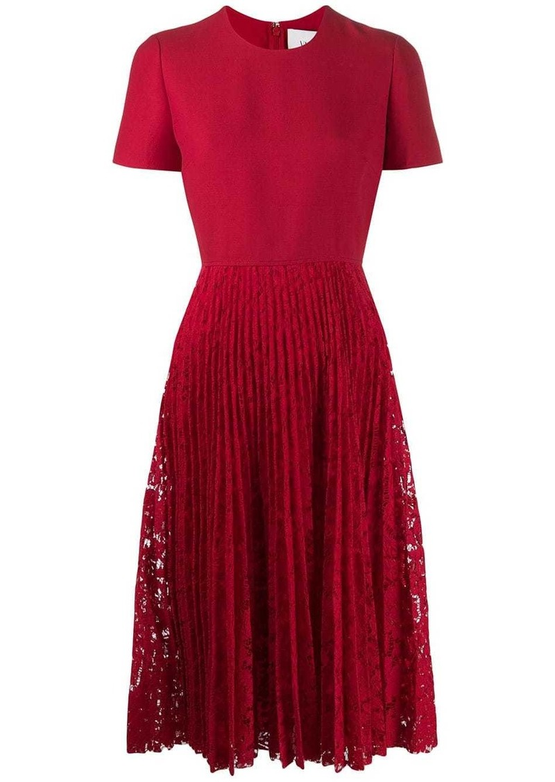 Valentino pleated lace midi dress