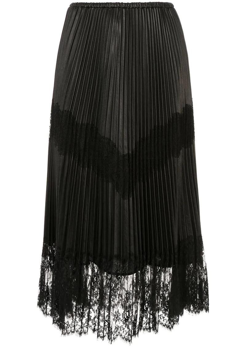 Valentino pleated lace trim midi skirt