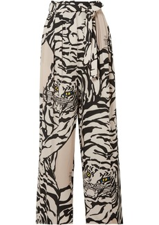 Valentino Pleated Printed Silk-crepe Straight-leg Pants