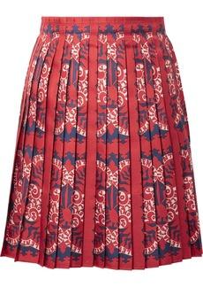 Valentino Pleated Printed Silk Mini Skirt