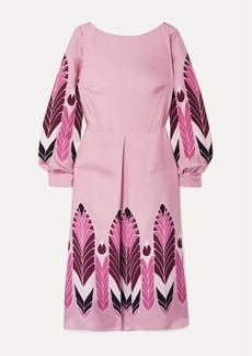 Valentino Pleated Printed Silk-twill Midi Dress