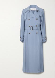 Valentino Pleated Silk-crepe Trench Coat