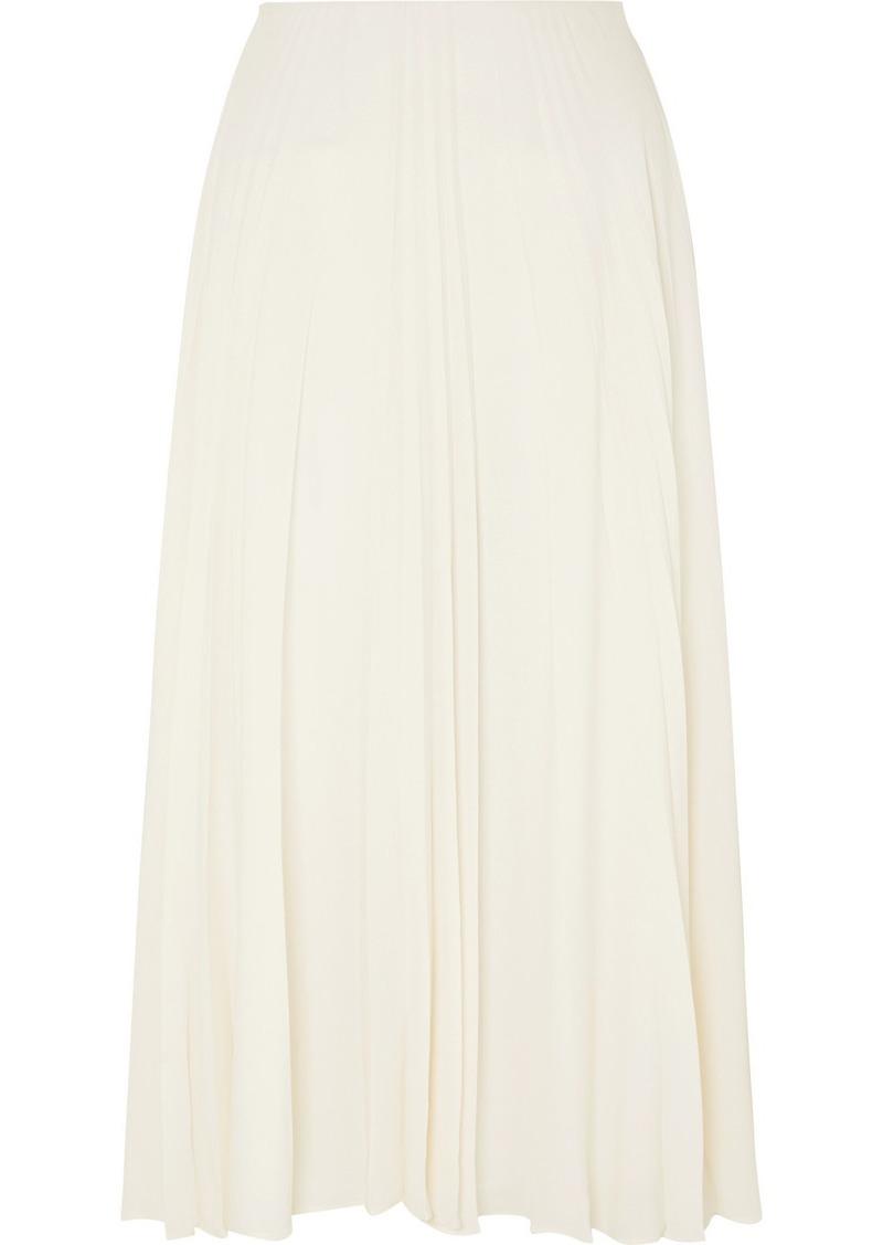 Valentino Pleated Silk-georgette Midi Skirt
