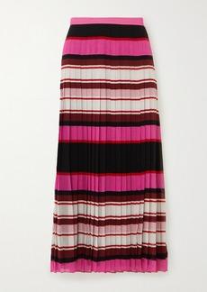 Valentino Pleated Striped Silk-georgette Midi Skirt