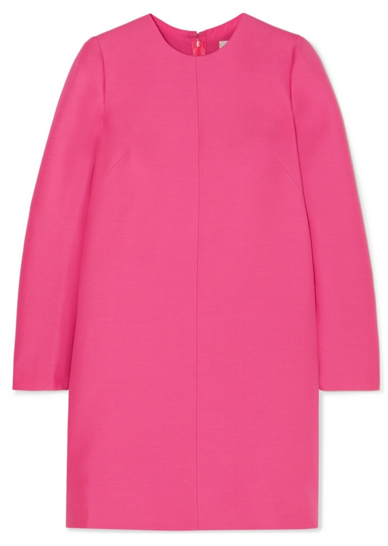 Valentino Pleated Wool And Silk-blend Grain De Poudre Mini Dress