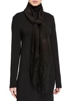 Valentino Plisse Silk Stole w/Lace Border