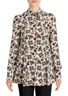 Valentino Pop Flower-Print Silk Blouse