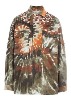 Valentino Printed Cotton Jacket with Fringed Embellishment