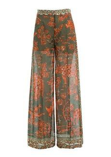 Valentino Printed Cotton Wide Leg Pants