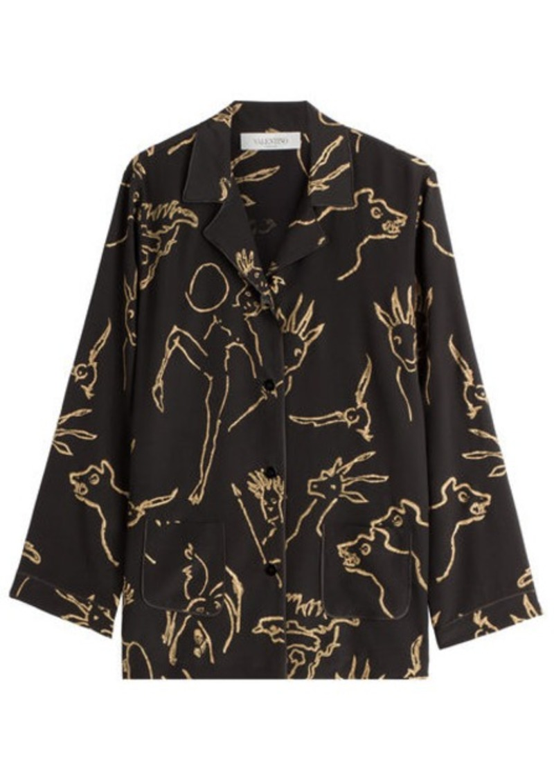 Valentino Printed Silk Blouse