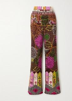 Valentino Printed Silk Crepe De Chine Straight-leg Pants