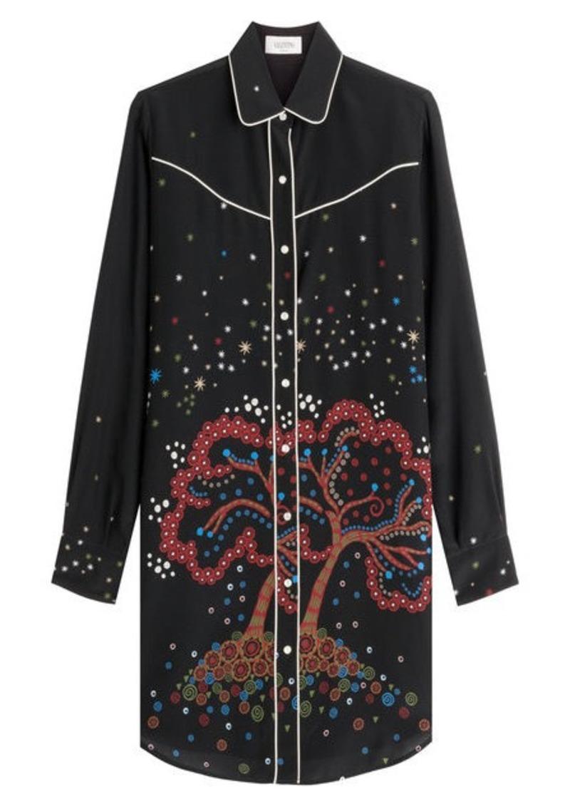 Valentino Printed Silk Tunic Blouse