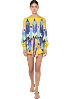 Valentino Printed Silk Twill Mini Dress