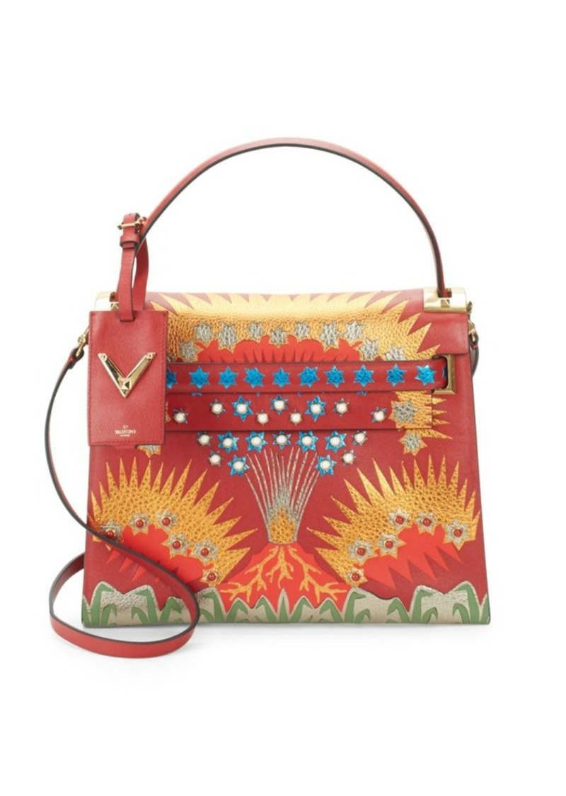 Valentino Printed Top Handle Bag
