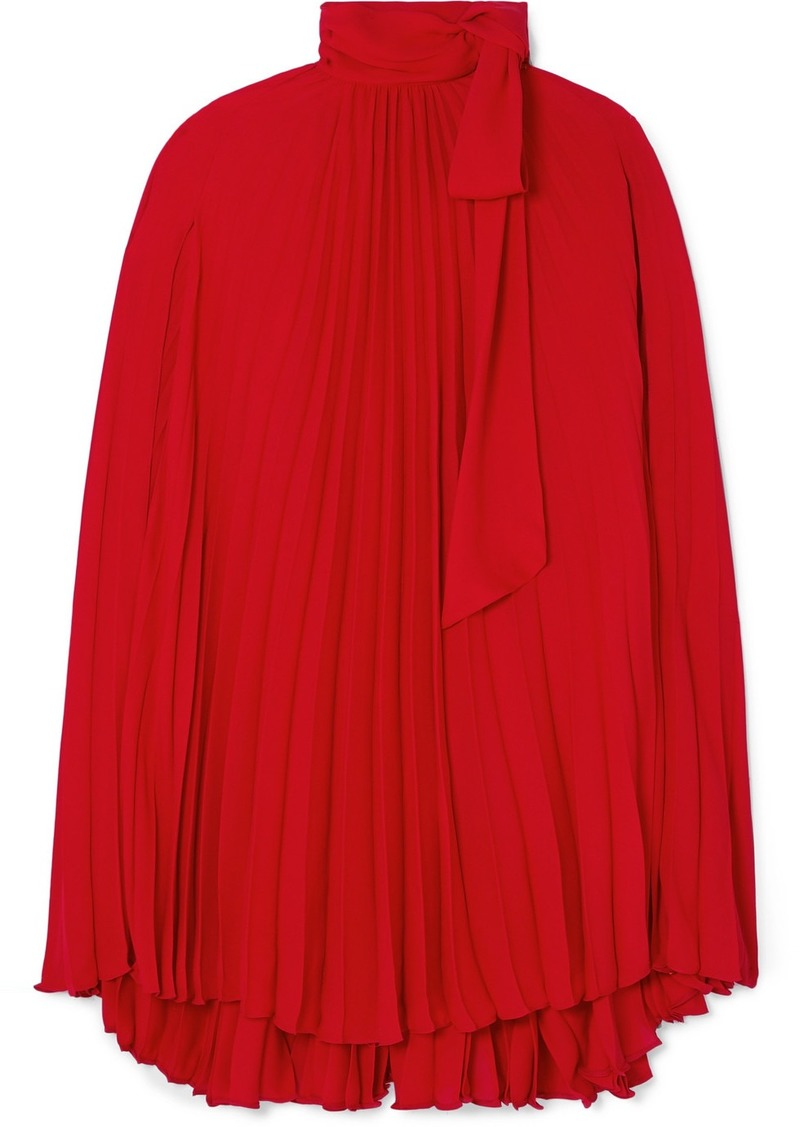 Valentino Pussy-bow Cape-effect Pleated Georgette Mini Dress