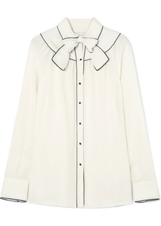 Valentino Pussy-bow piped silk blouse