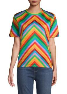 Valentino Rainbow Chevron-Print Tee