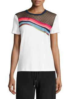Valentino Rainbow Point D'Esprit-Yoke Tee