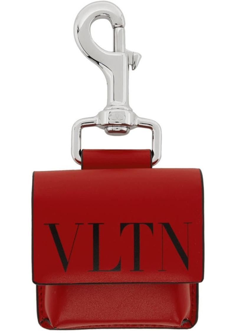 Red & Black Valentino Garavani 'VLTN' Pouch Keychain