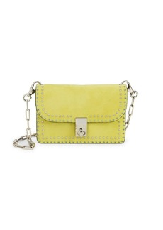 Valentino Rhinestone Trim Suede Shoulder Bag
