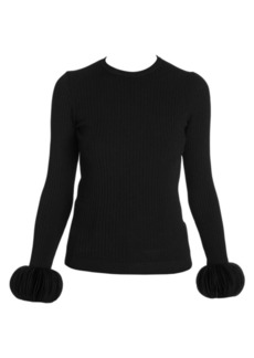 Valentino Rib Knit Disc Cuff Sweater