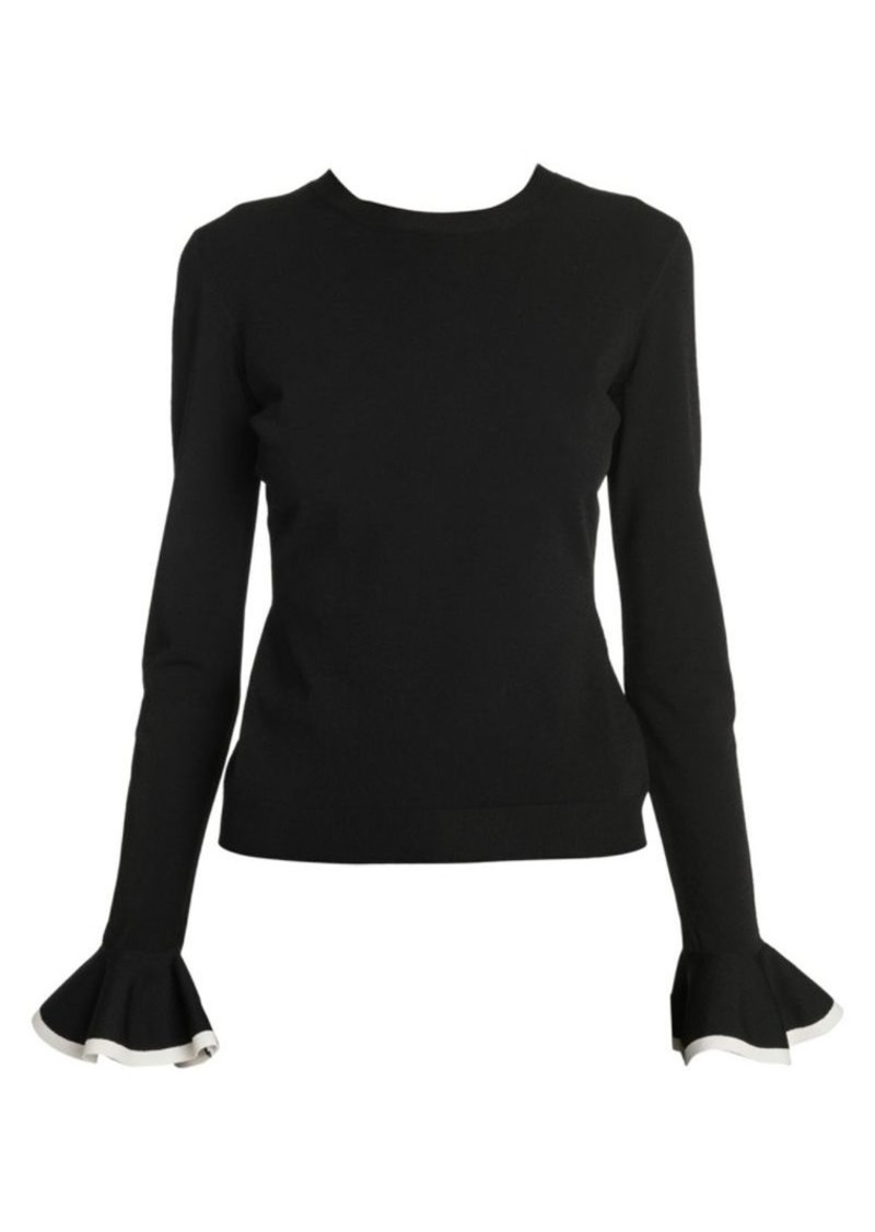 Valentino Rib Knit Flounce Cuff Sweater
