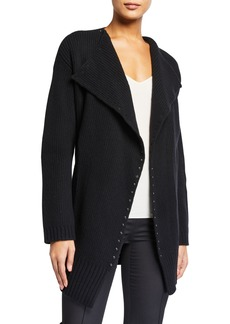 Valentino Ribbed Open-Front Shawl Cardigan w/ Stud Trim
