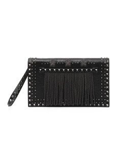 Valentino Rockstud Beaded Leather Wristlet Clutch Bag