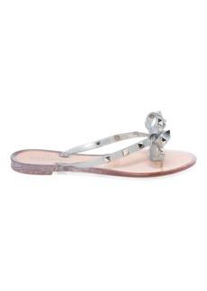 Valentino Garavani Rockstud Bow Metallic Jelly Thong Sandals