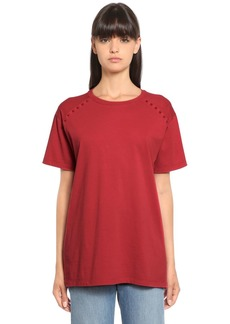 Valentino Rockstud Cotton Jersey  T-shirt