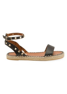 Valentino Garavani Rockstud Double Leather Espadrille Sandals
