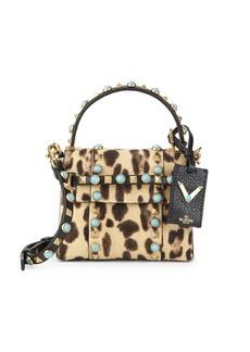 Valentino Rockstud Dyed Calf Hair & Leather Mini Bag