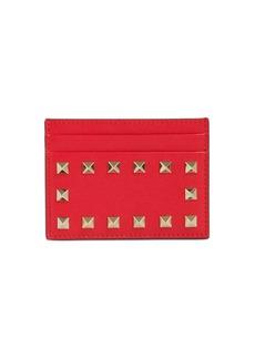 Valentino Rockstud Embellished Leather Card Holder