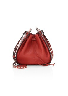 Valentino Rockstud Grained Leather Bucket Bag