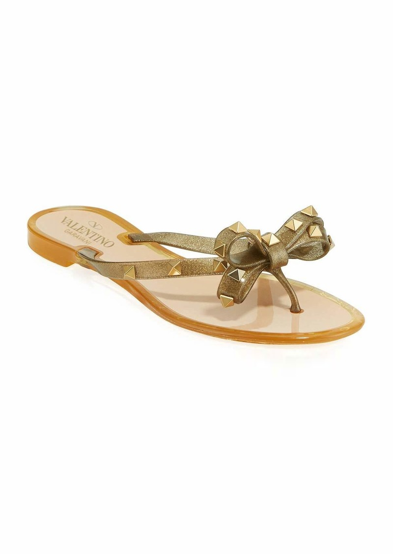 Valentino Rockstud Jelly Bow Thong Sandals