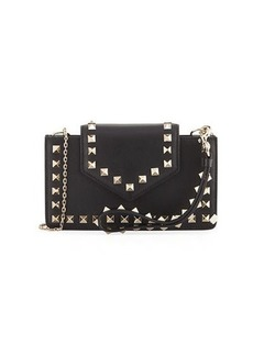 Valentino Rockstud Leather Flap Phone Case with Chain