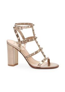 Valentino Rockstud Leather Strap Sandal
