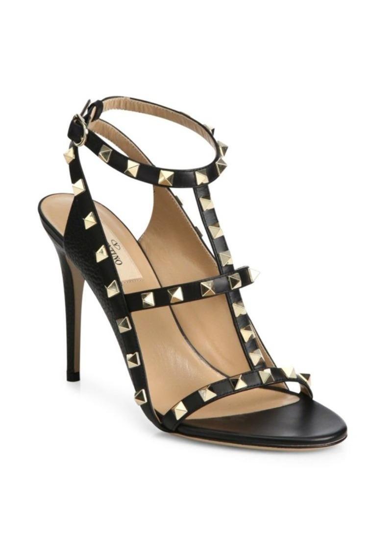 19cda34b941 Valentino Rockstud Leather T-Strap Sandals