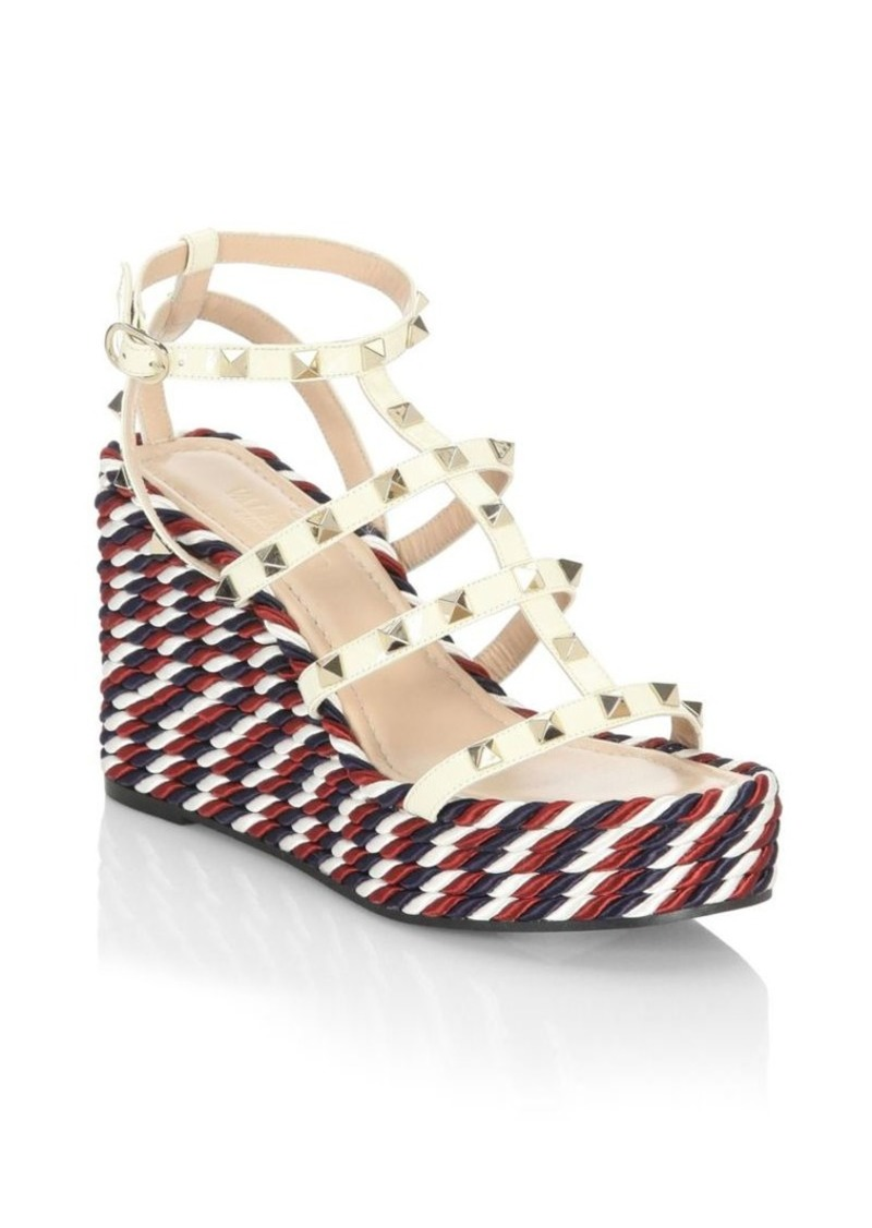 4d6c2ceef07 Valentino Rockstud Leather Wedge Sandals