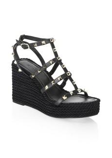 Valentino Rockstud Leather Wedge Sandals