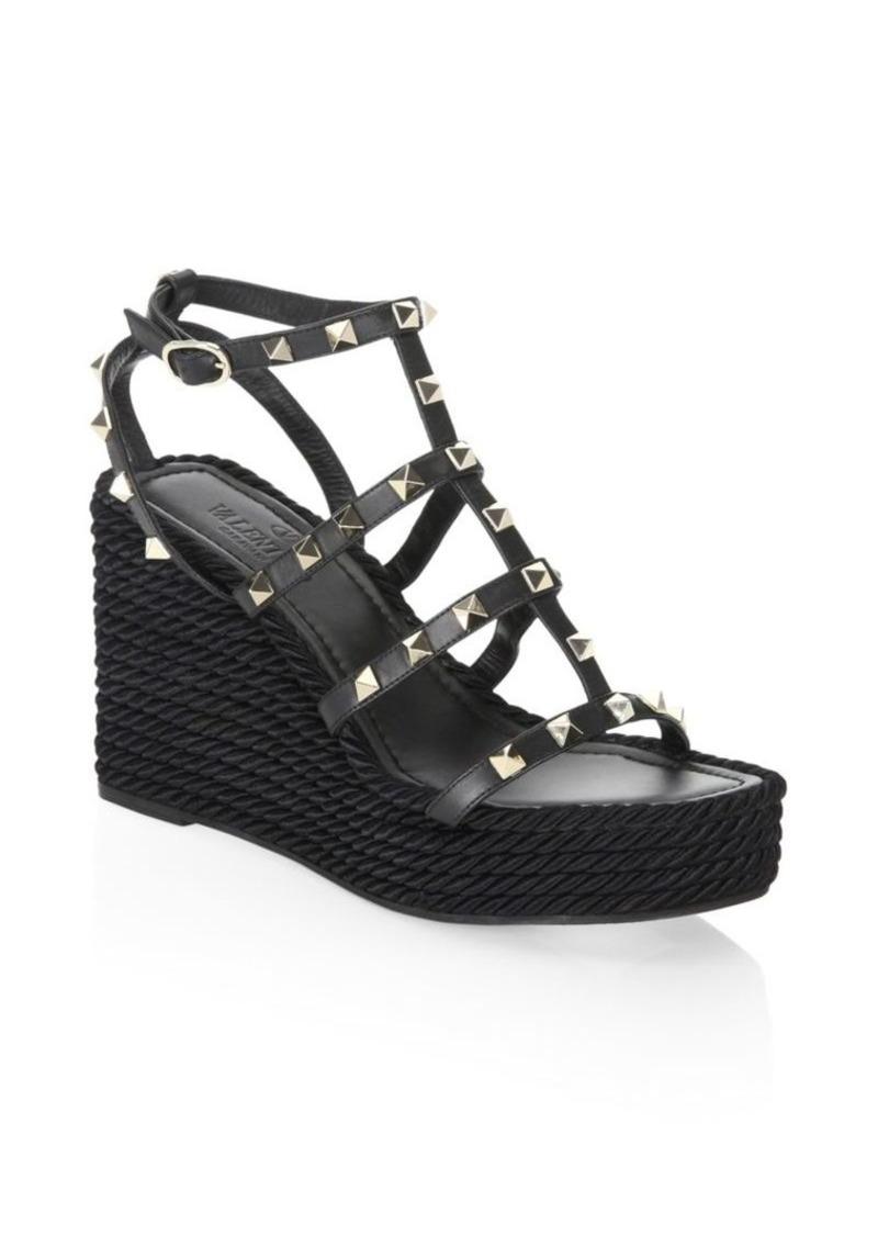 4d6c2ceef07 Valentino Rockstud Leather Wedge Sandals