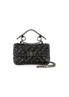 Valentino Rockstud Quilted Shrunken Leather Shoulder Bag
