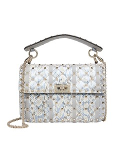 Valentino Rockstud Quilted Snakeskin Bag