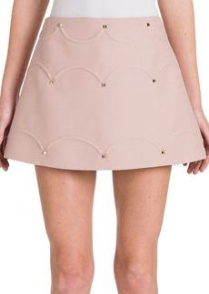 Valentino Rockstud Scalloped A-Line Skirt