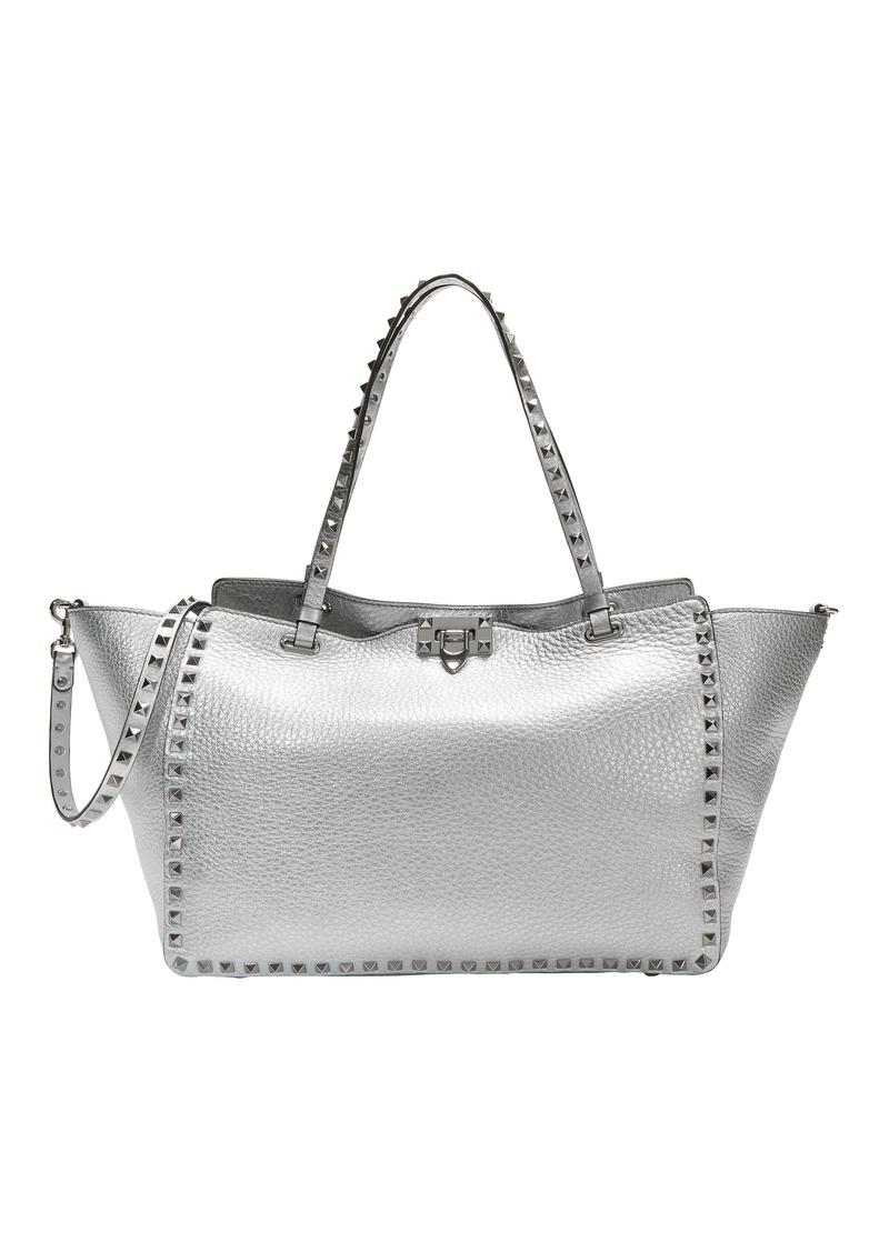 0784786e45c Valentino Rockstud Silver Medium Tote | Handbags
