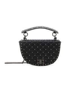 Valentino Rockstud Spike Agnello Leather Saddle Bag