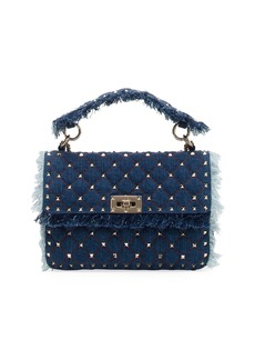 Valentino Rockstud Spike Medium Fringe Denim Shoulder Bag