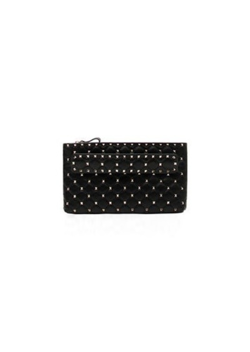 b6a97df56 Valentino Rockstud Spike Quilted Leather Clutch Bag | Handbags