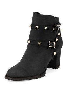 Valentino Rockstud Suede Chunky-Heel Boot